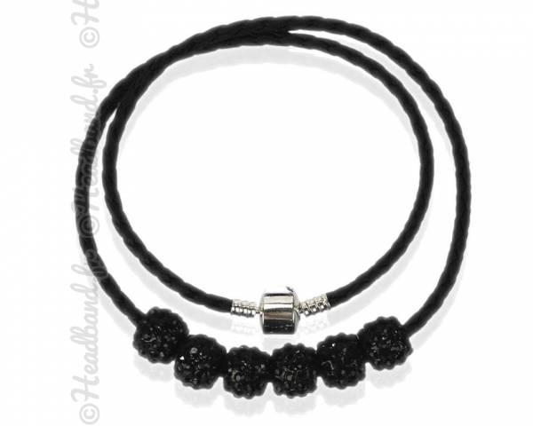Collier torsadé simili cuir perles strass noir