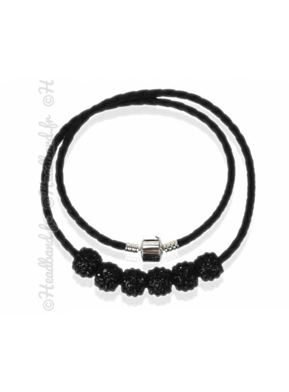 Collier bracelet simili cuir bleu noir