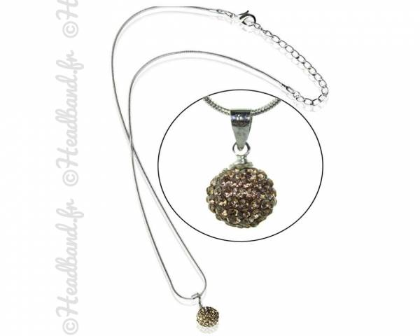 Collier boule strass bronze