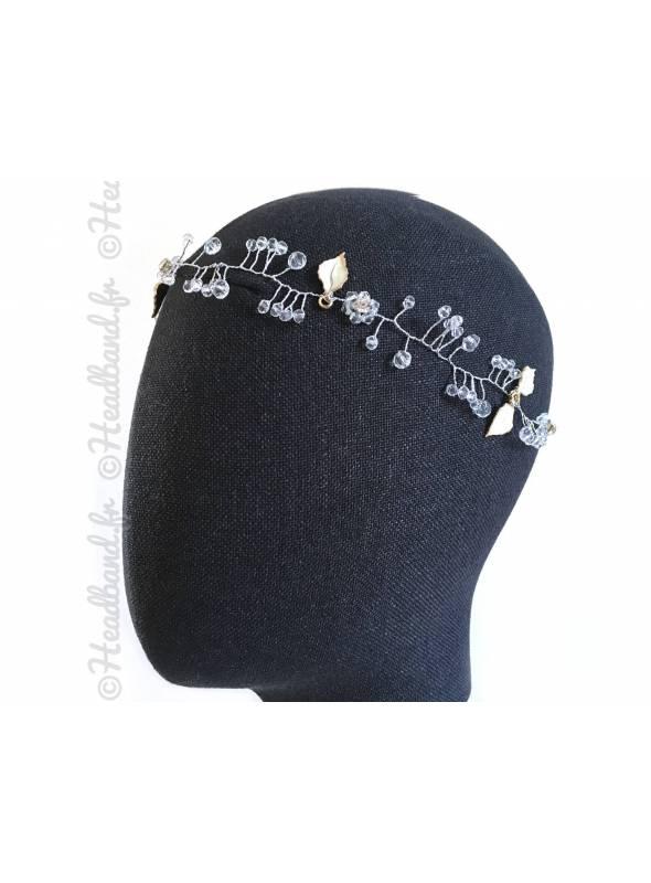 Headband cristaux et feuilles