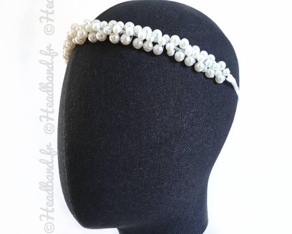Bandeau perles blanches brodées