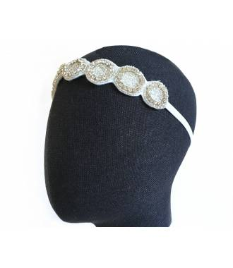 Headband ronds blanc bohème