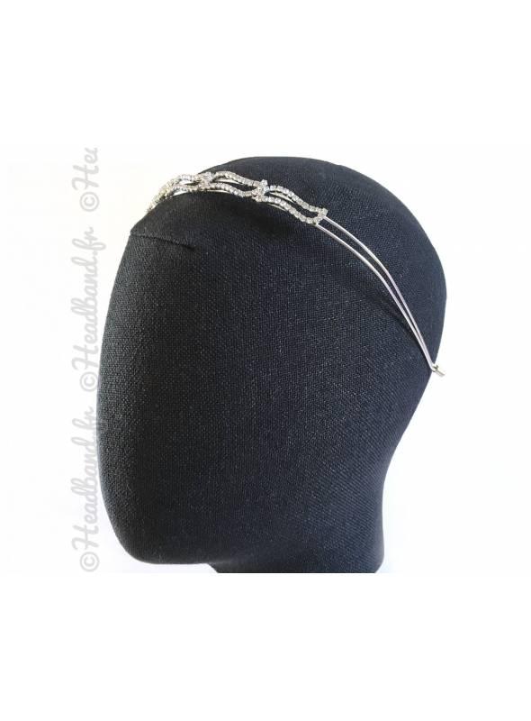 Tiare formes cristaux argentée