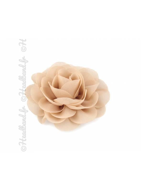 Pince fleur mousseline beige