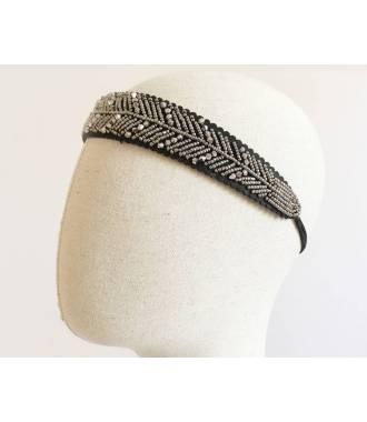 Bandeau large à perles grises