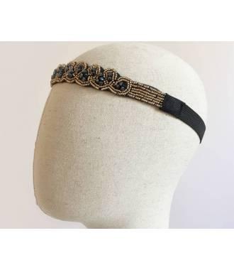 Headband à perles vagues bleu et doré