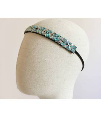 Headband chevrons turquoise et argenté