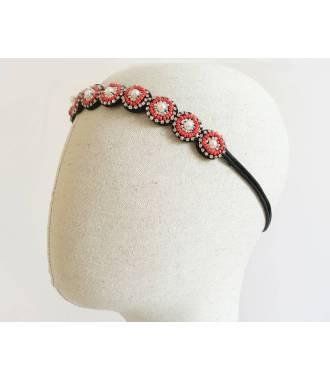 Bijou cheveux ronds perlés rouge