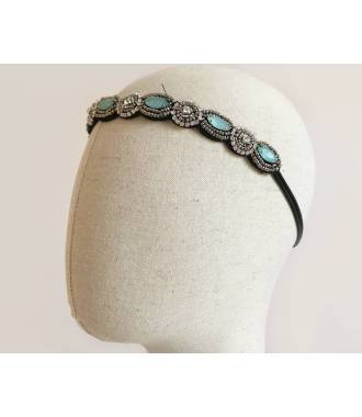 Headband perles bleu Gwendoline