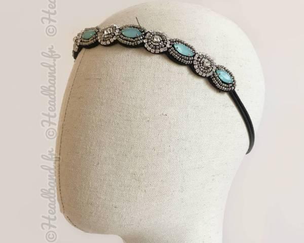 Headband perles vertes Gwendoline