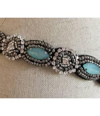 Headband perles bleu Gwendoline zoom