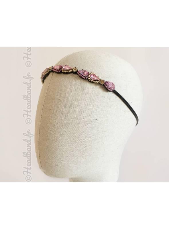 Headband fin à cristaux rose