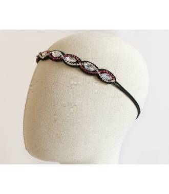 Headband vagues strass rouge