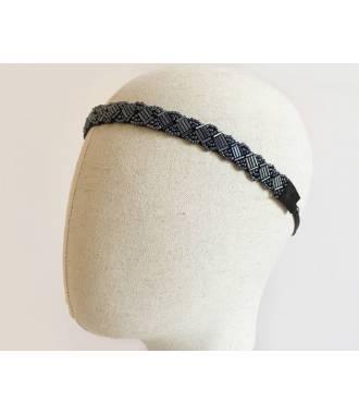 Bijou de tête noir en perles