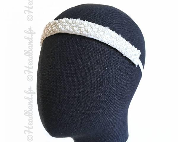 Headband mariée large motifs perlés
