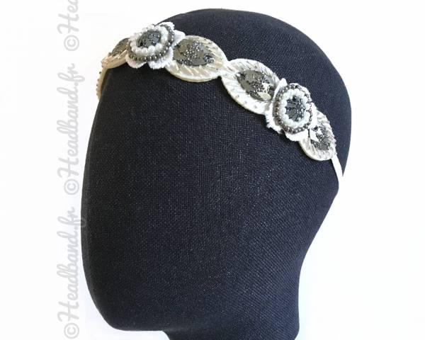 Headband mariée strass gris et blanc