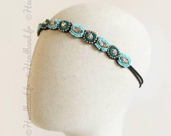 Bandeau bleu en perles Mirella