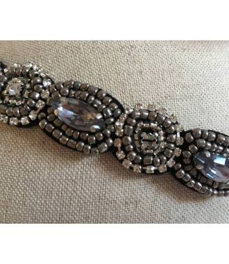 Headband bijou gris en perles Gaëlle