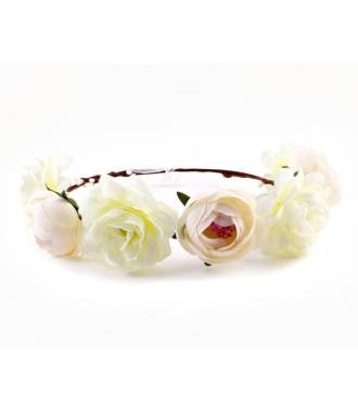 Couronne fleurs crème