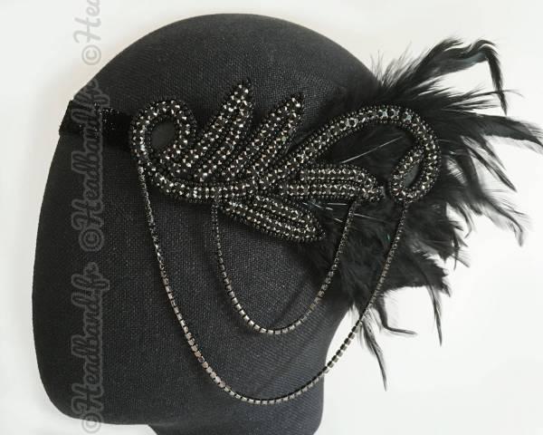 Bandeau plumes et chaîne Charleston noir