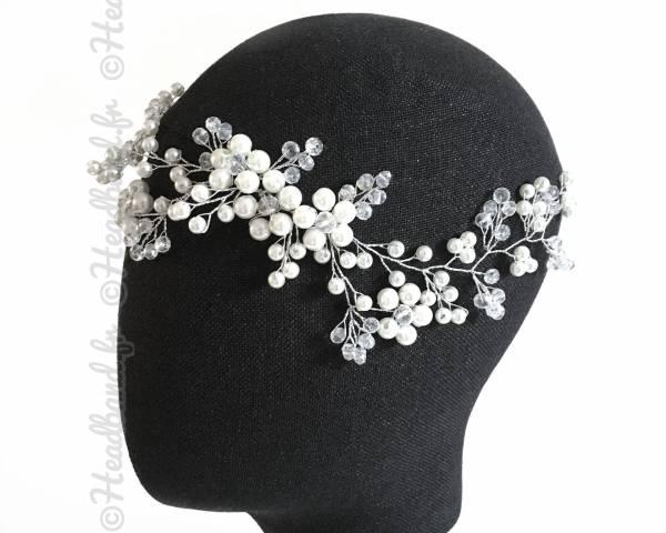 Tiare mariée perles blanches Sandy