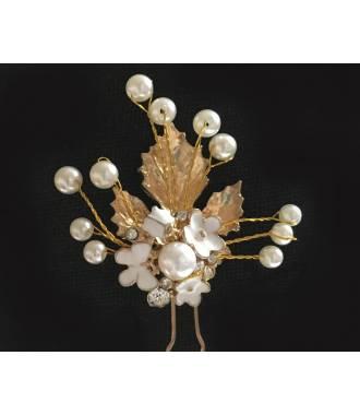 Epingle chignon dorée petites fleurs Léana