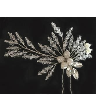 Pic à chignon perles transparentes Hénaia