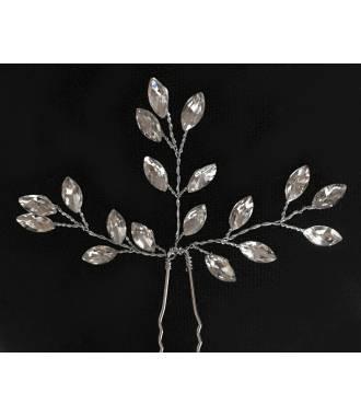 Epingle chignon mariée argenté cristaux épi