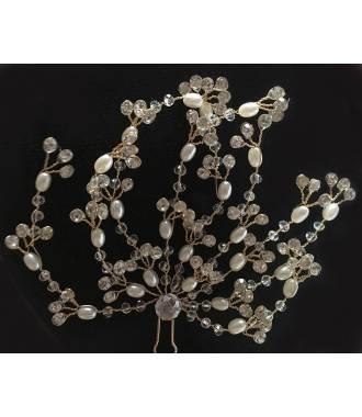 Coiffe dorée avec perles et cristaux Lisandra