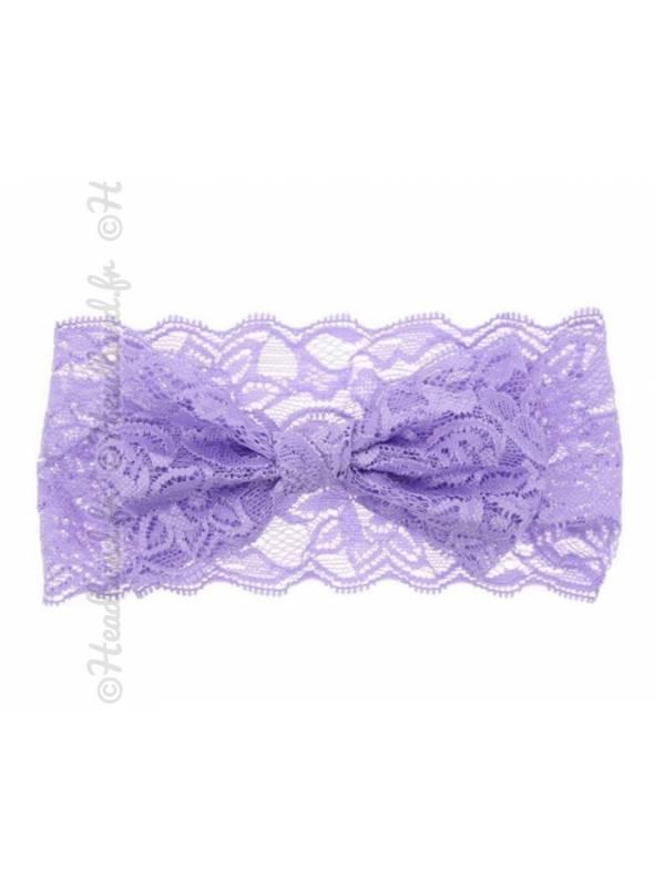 Bandeau dentelle fille noeud violet