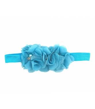 Bandeau triple fleur bleu