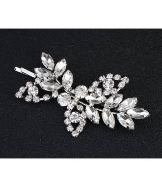 Barrette cristaux à facettes feuillage