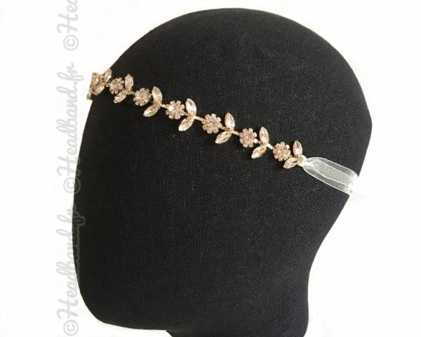 Tour de tête mariée sophistiqué métal doré