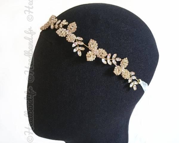 Tour de tête sophistiqué feuillage et fleurs cristaux