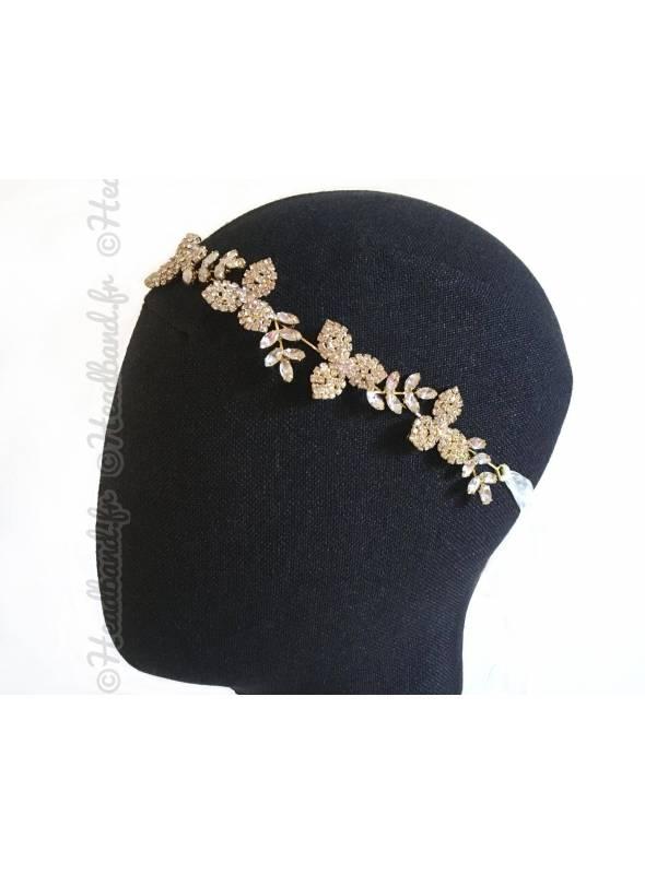 Tour de tête sophistiqué feuillage et fleurs cristaux porté