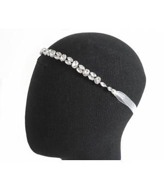 Headband à nouer orné de cristaux à facettes