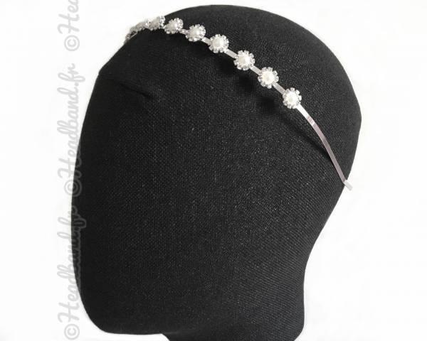 Serre-tête mariée ronds perlés argentés