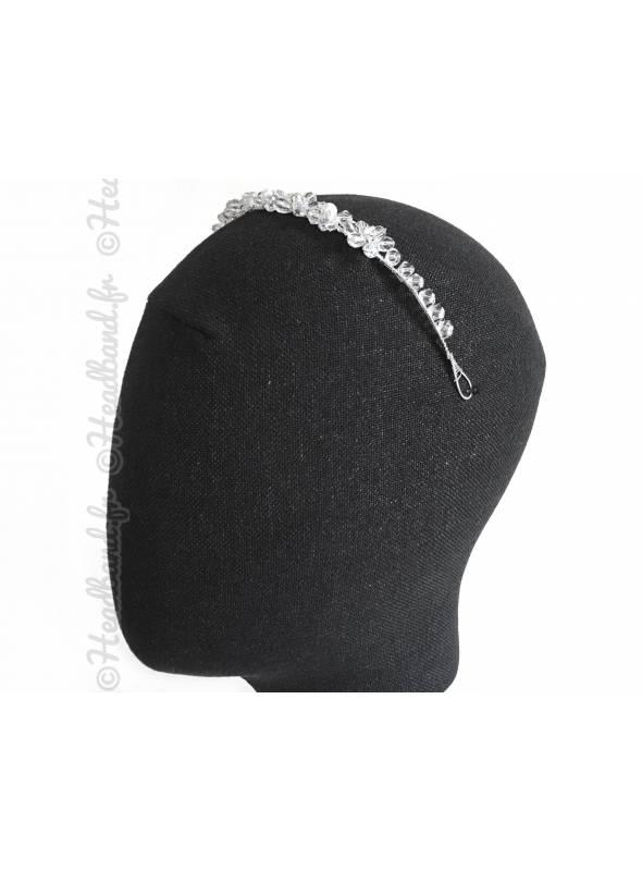Tiare mariage perles transparentes motifs fleurs
