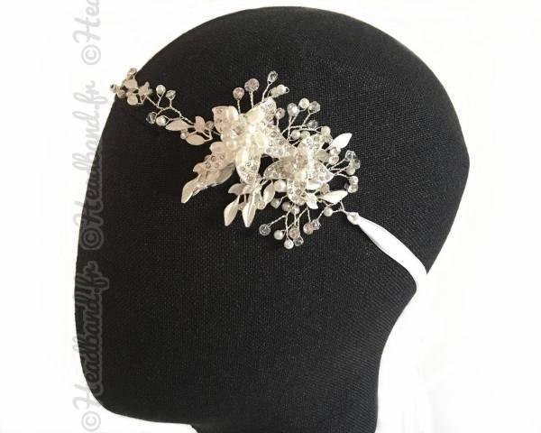 Bijou de tête mariée fleurs argenté Karie