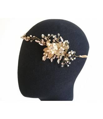 Tour de tête mariée vintage doré Ninon