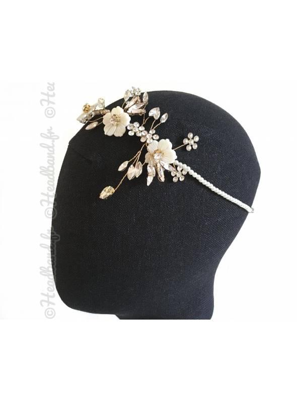 Tour de tête romantique doré à perles