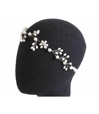 Tour de tête perles câble métal