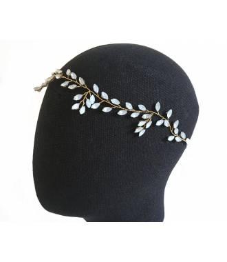 Tour de tête cristaux reflets irisés sur câble doré