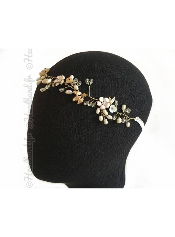 Headband mariée baroque fleurs blanches Justine