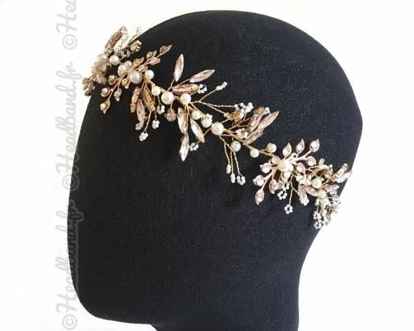 Headband bohème doré organza et cristaux