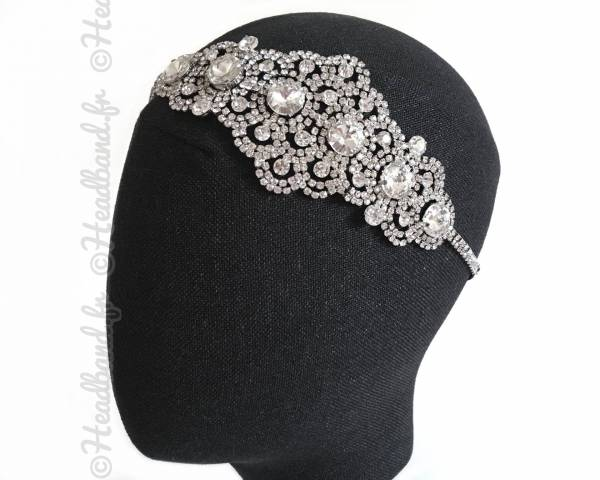 Headband élastiqué empiècement cristaux blanc
