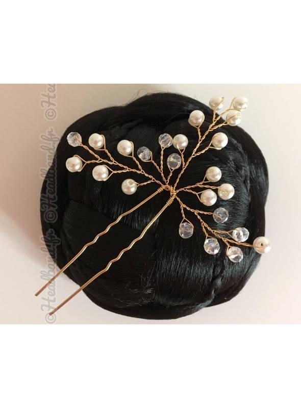 Epingle cheveux strass et perles Anastasia