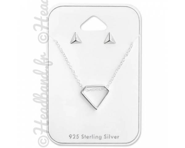 Parure géométrique diamant argent 925