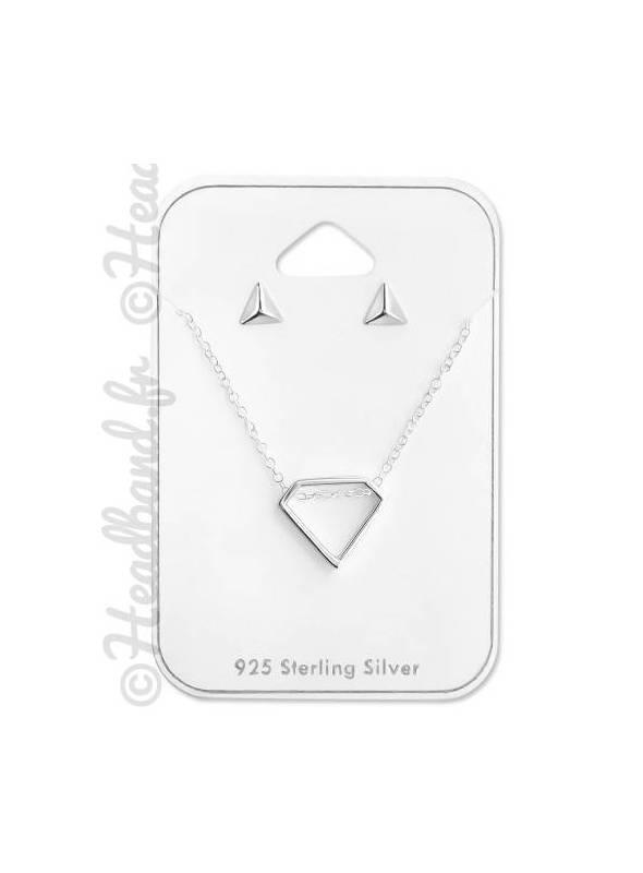 Parure géométrique triangles argent 925