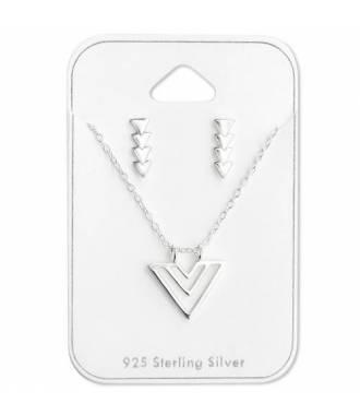 Parure bijoux pendentif triangulaire argent 925